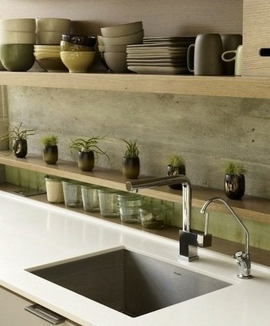 open shelving kitchen backsplash ideas for a unique kitchen bob vila. Black Bedroom Furniture Sets. Home Design Ideas