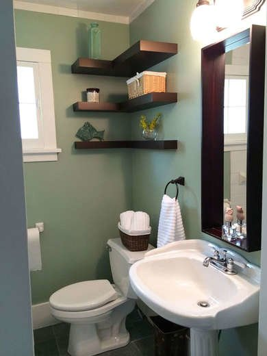 Bathroom with Corner Shelves