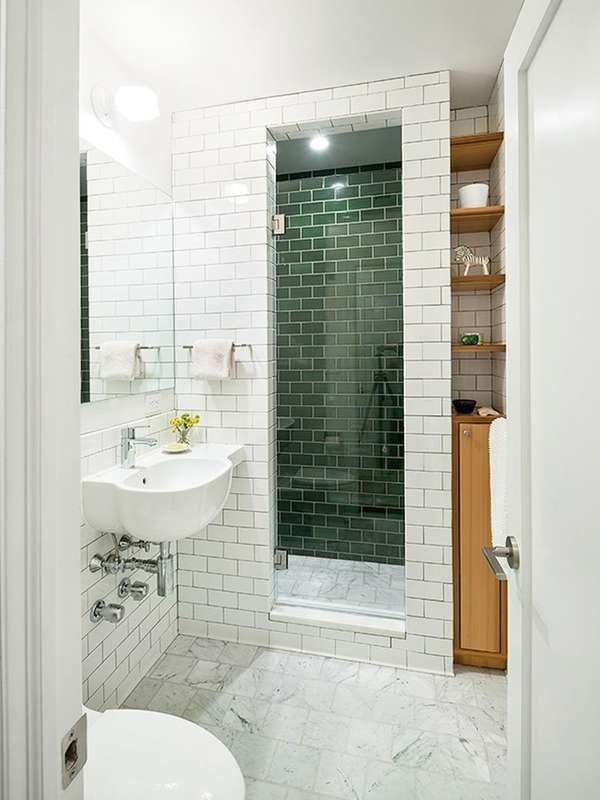 Small Bathroom with Green Tiles