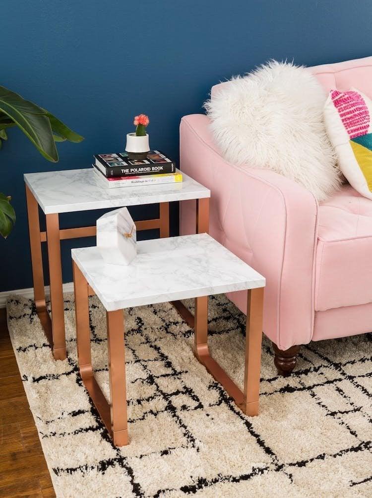 Ikea faux marble side table