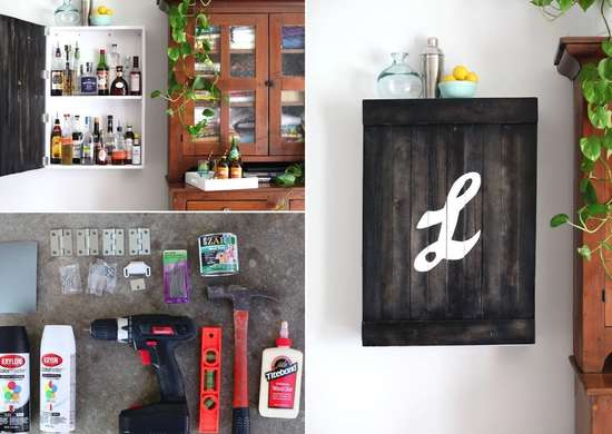 Wall-mounted liquor cabinet