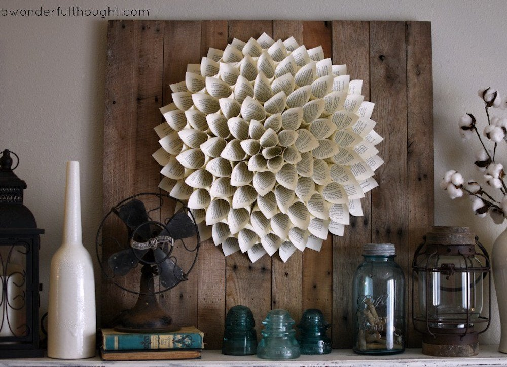 Repurposed Books - 9 Creative Uses For Old Books - Bob Vila on repurposed lighting fixtures, ceiling fan blade design ideas, repurposed pendant lighting, diy pendant light ideas,