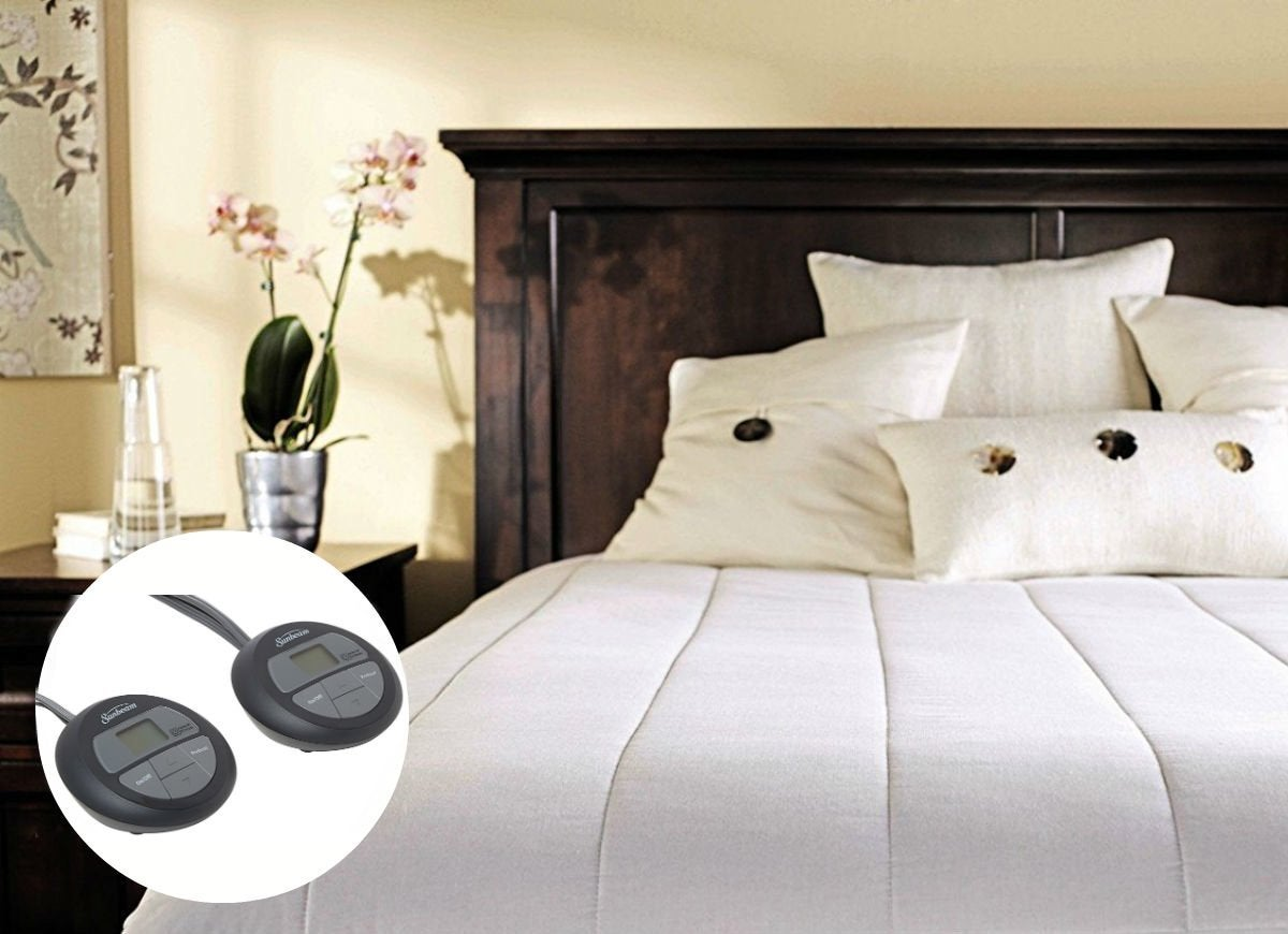 Sunbeam quilted heated mattress pad with sleek controllers