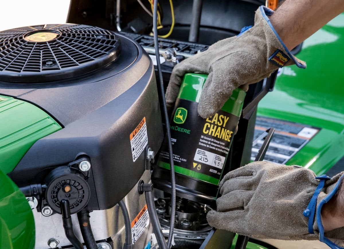 Simplify mower maintenance with easy change 30second oil change
