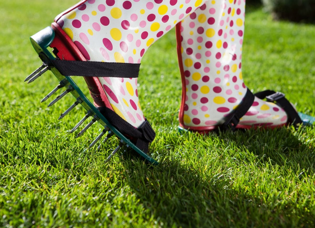 Aerate your lawn with each step