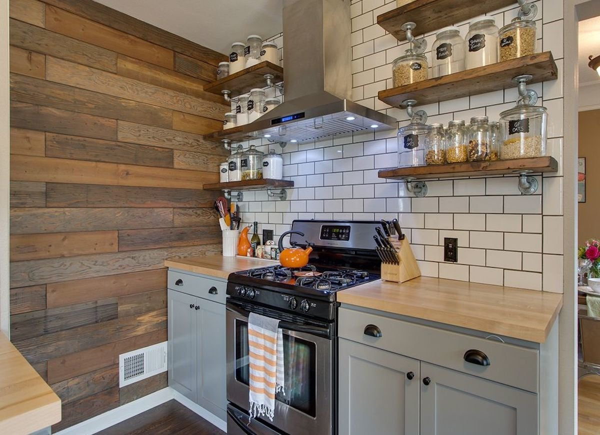 Shiplap rustic wood kitchen