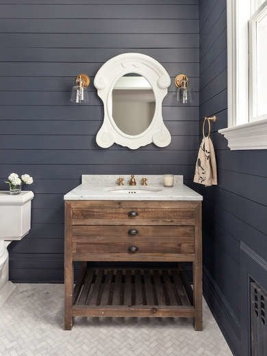 Black Shiplap Bathroom