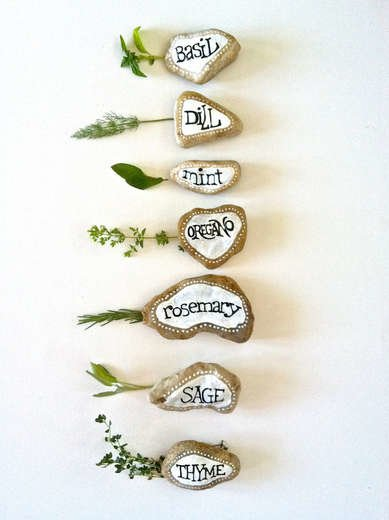 Painted Stone Garden Markers