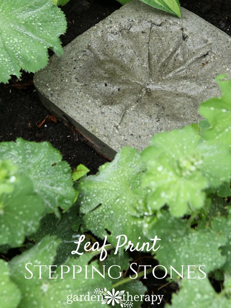 Leaf print stepping stones
