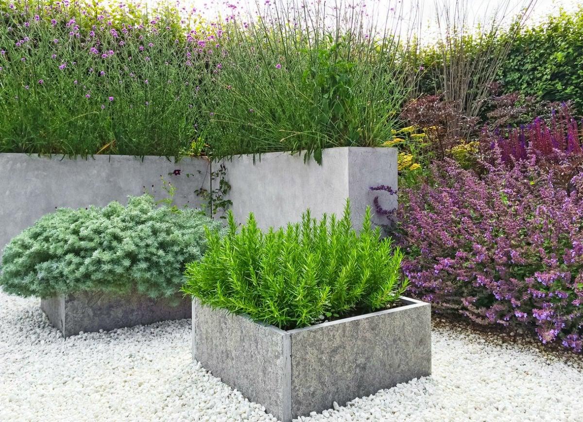 Concrete paver planters