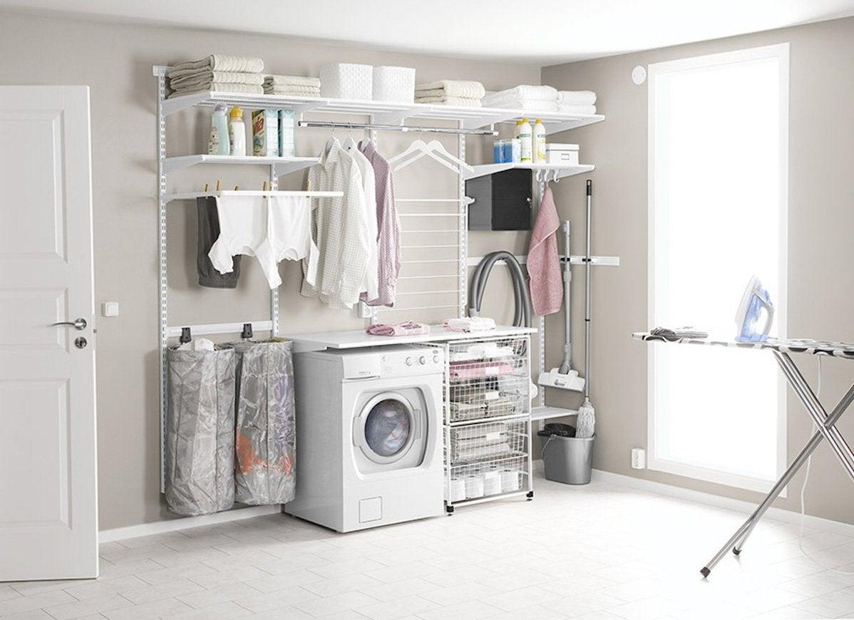 Elfa shelf in laundry room