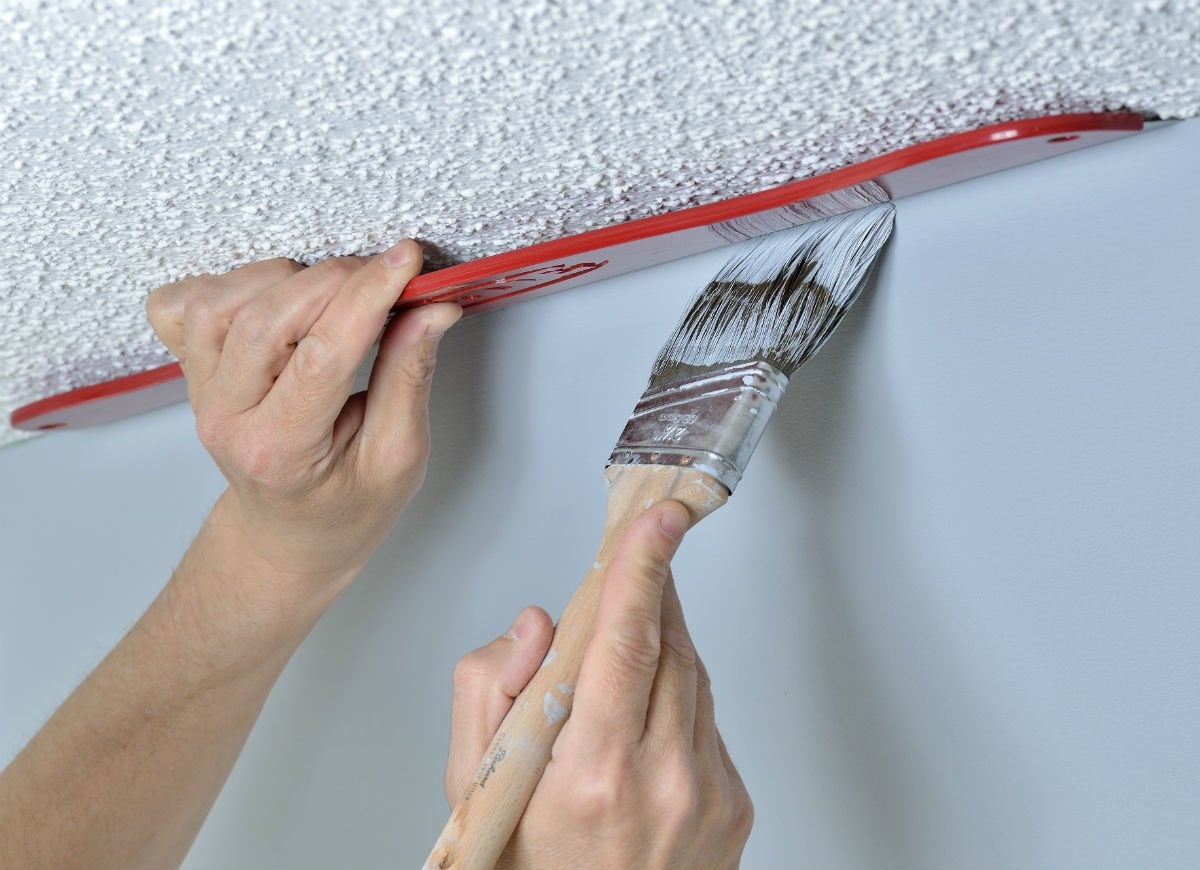 Paint shield protecting ceiling