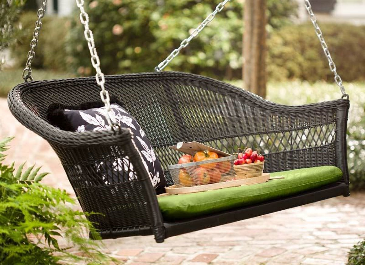 chair p resin wchains tree patio bench wicker hanging chains hanger swing w porch ceiling black