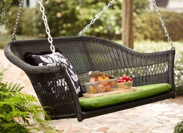 Plow & Hearth Easy Care Resin Wicker Swing