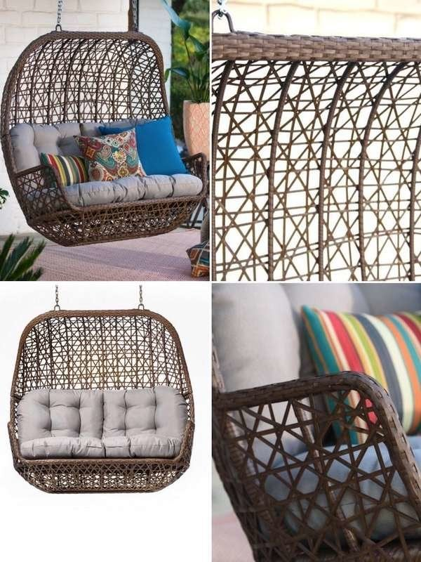 Belham Living Rayna Wicker Loveseat Porch Swing