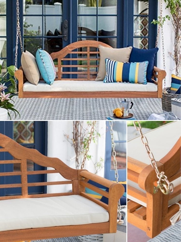 Belham Living Eucalyptus Wood Porch Swing