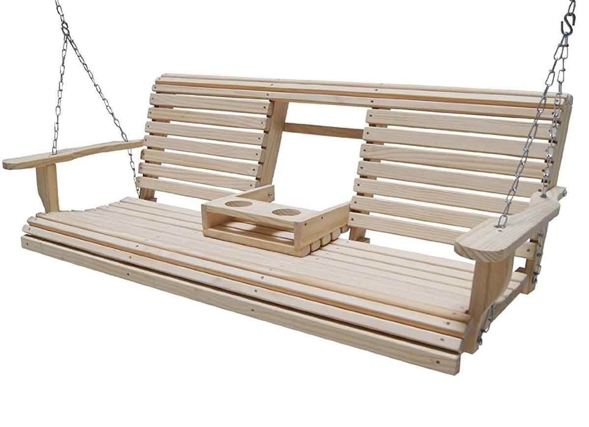 Cypress Eternal Wood Roll Back Porch Swing
