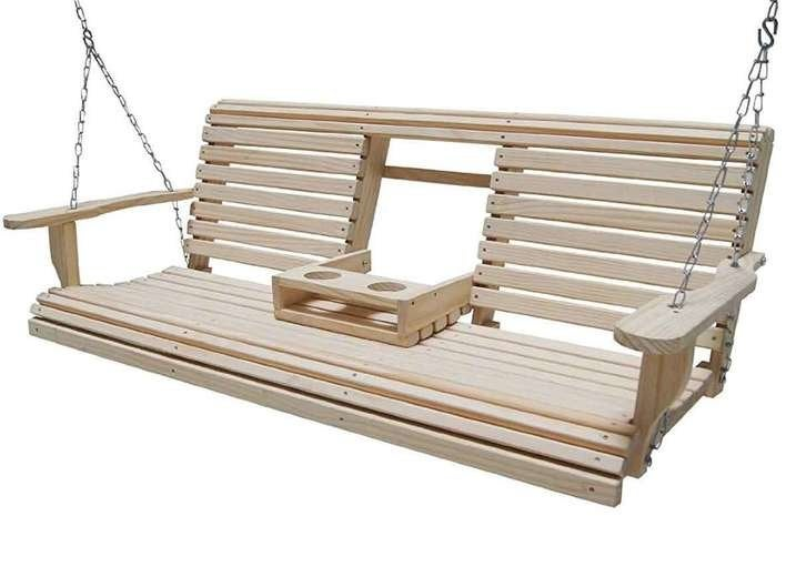 Cypress Eternal Wood Roll Back Porch Swing