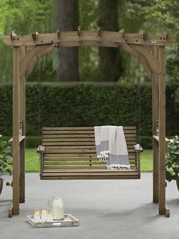 Have you ever thought to check Sam's Club's aisles for garden seating? If  not, you'll be missing out on treasures like this arched pergola with a  hanging ... - The Best Things To Get For Your Backyard From Sam's Club - Bob Vila