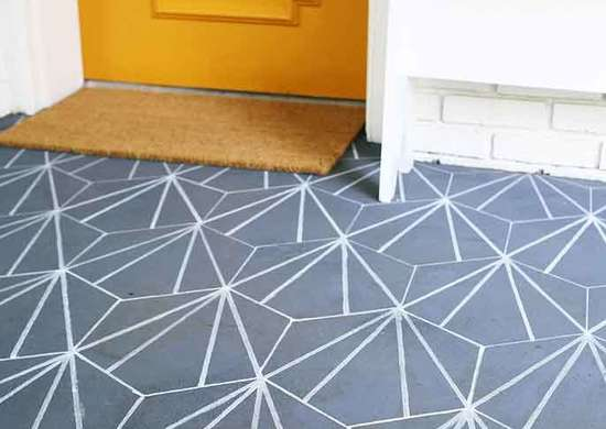 DIY Stenciled Patio Tiles