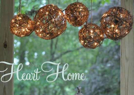 DIY Twine Lighting Fixture