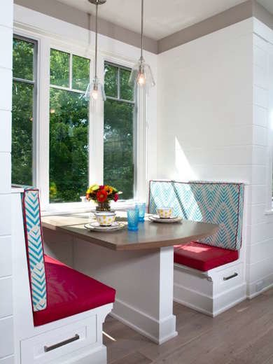 Blue and Red Breakfast Nook