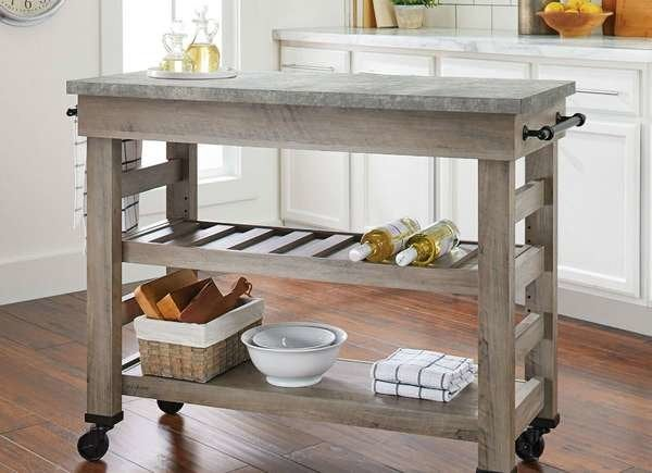 Kitchen Cart Island Table Butcher Block TV Stand Mobile ...