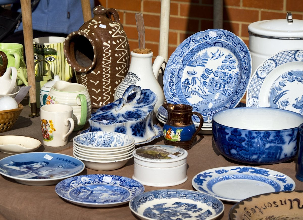 Image result for yard sale dishes