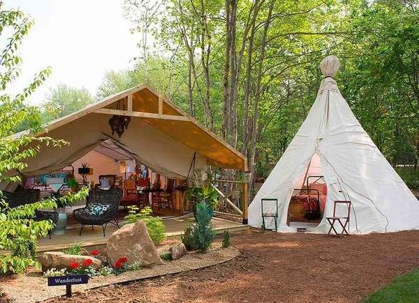 Glamp Tents at Sandy Pines Campground in Kennebunkport, Maine