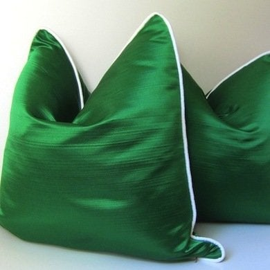 Etsy studiotullia emeraldgreensilkpillows