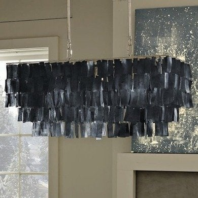 Westelm rectanglehangingcapizpendantlight gray