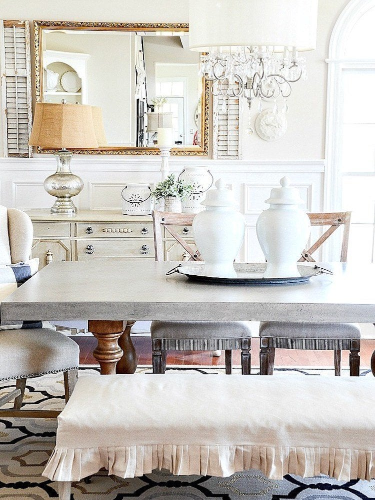 If You Like The Look Of Bench Seating But Not Feel A Hard Slab Wood This Dining Room Decorating Idea From StoneGable Blog May Be Just What