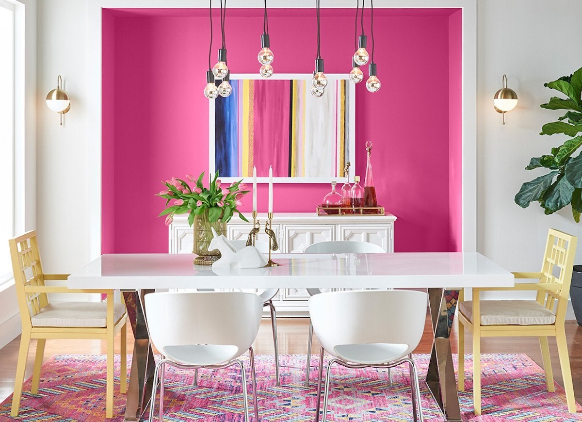 No, Pink Isnu0027t Everyoneu0027s First Pick For The Dining Room, But Exuberant  Pink By Sherwin Williams Strikes A Surprisingly Sophisticated Pose In This  Dining ...