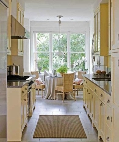 Incorporating A Breakfast Area Into Your Galley Kitchen Design Can Make The Space More Inviting To Friends And Family By Locating The Cabinets Near The