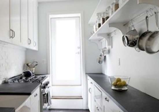 Galley kitchen shelves galley kitchen design ideas 16 for Turning a galley kitchen into an open kitchen
