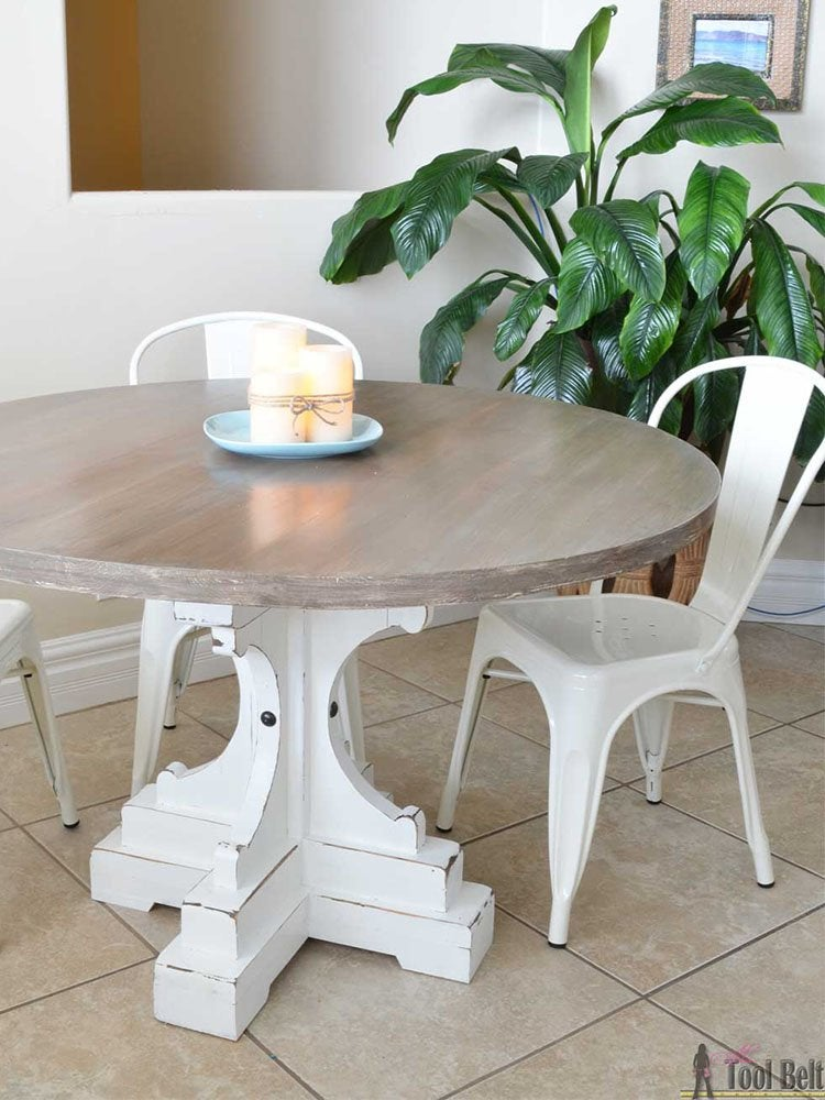 Put It On A Pedestal 7 26 Farmhouse Style Round DIY Dining Table
