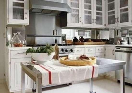 Kitchen island stainless steel in kitchen