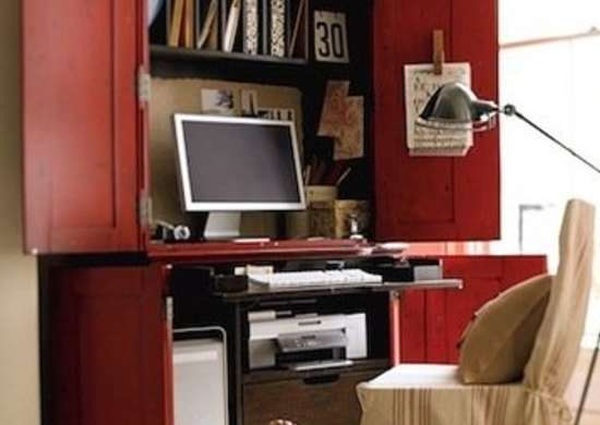 By Converting An Armoire With Desktop And Shelves, You Can Whip Up A Home  Office Just About Anywhere. Consider Adding A Pull Out Keypad Shelf For  Better ...