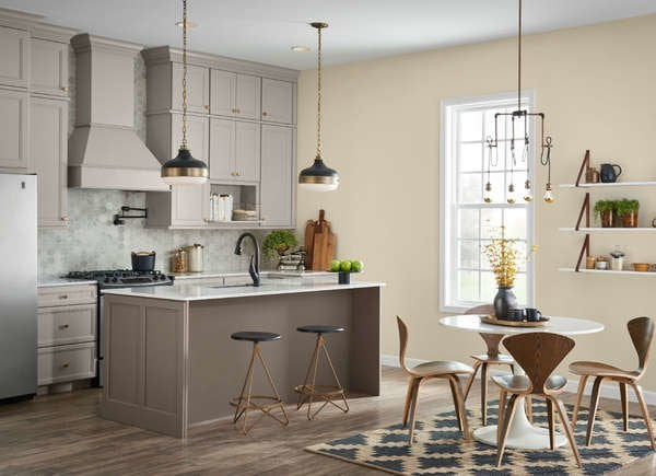 Fresh Kitchen Cabinet Colors: Garret Gray from Sherwin-Williams