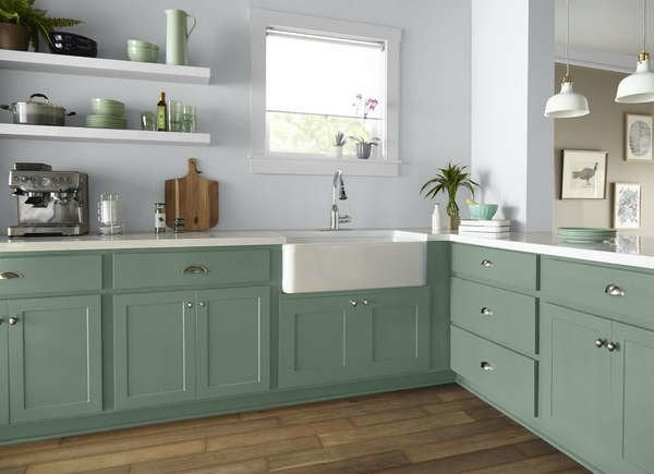 amusing green kitchen paint colors white cabinets | 14 Kitchen Cabinet Colors That Feel Fresh | Bob Vila - Bob ...