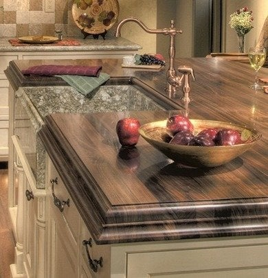 Wood countertop sink gumbler