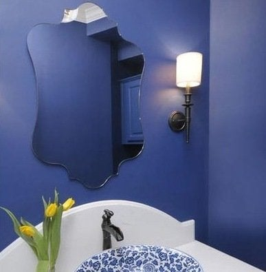 blue bathroom - bright paint colors - 7 tips for a bolder