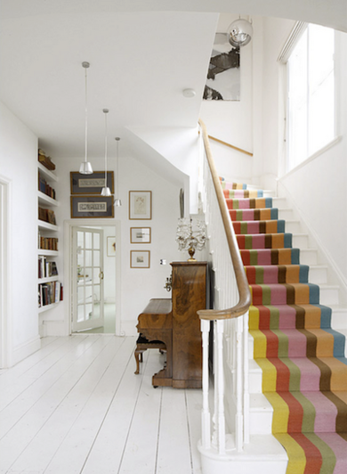 Painted striped stairway livelikeyouandmarmaladeinteriors