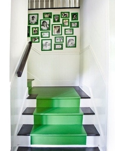 Emerald green painted stairs melanieturnerinteriors