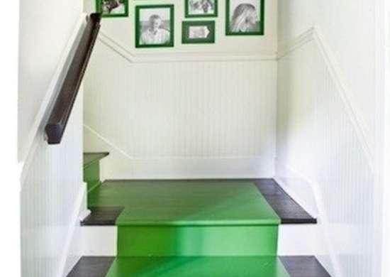 Emerald green painted stairs melanieturnerinteriors