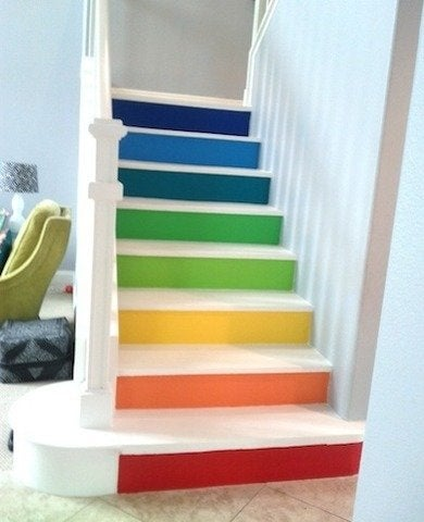 Multi colored painted stairs bfarhardesign