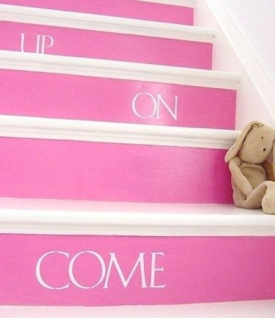 Come on up painted stair katiebrownhomeworkshop