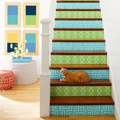Custom stenciled painted stairs lowescreativeideas