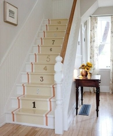 Painted stairs with number stencils staceybrandford
