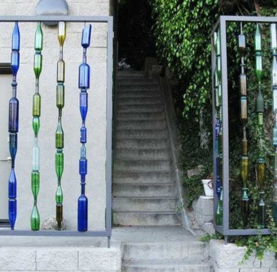 Glass-plastic-bottles-recycling-fences-lushhome